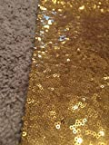 LQIAO Gold Sequin Table Runner-13x108inch Sparkly Shimmer Sequin Fabric, Sequin Table Runner, Sequin Tablecloth, Table Linens Wedding Dining Party Shiny Decoration(18PCS)