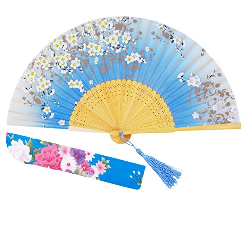 [Meifan Chinese/Japanese Handmade Handheld Folding Fan (SkyBlue)] (Mini Black And White Spanish Hat)