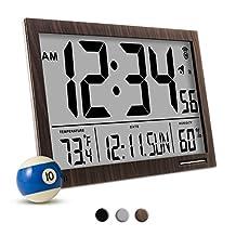MARATHON CL030062 Slim-Jumbo Atomic Digital Wall Clock with Temperature, Date and Humidity (Wood Tone)