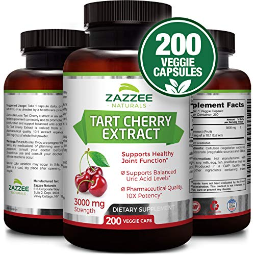 Tart Cherry Extract | 3000 mg Strength | 200 Veggie Caps | Potent 10:1 Extract | Over 6-Month Supply | Non-GMO, Vegan & All-Natural | Extra Strength Uric Acid Cleanse for Healthy Joints | Made in USA - Tart Cherry Gout