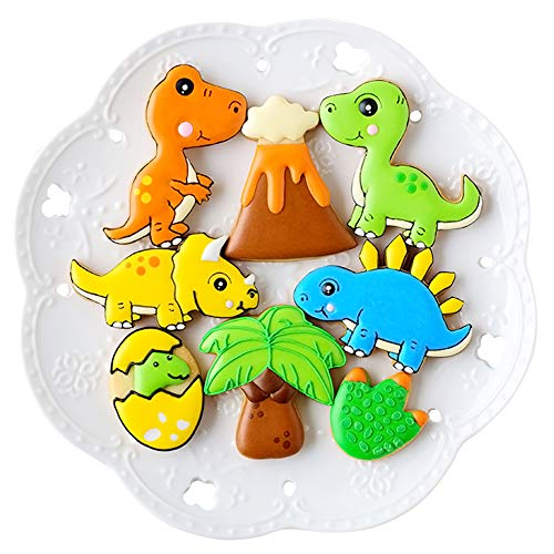 Dinosaur Cookie Cutters with Matching Cookie Stencils -Set of 16-8Pcs Cookie Cutter and 8Pcs Stencils, Include Stegosaurus, T-Rex, Brontosaurus, Triceratops, Dinosaur Egg, Footprint, Volcano and Tree