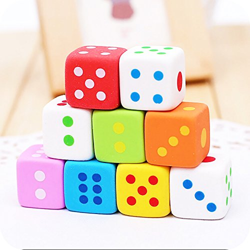 Novelty Dice (DECORA 9 Pieces Novelty Dice Style Pencil Eraser Rubber Stationery Kid Gift Toy)