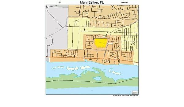 Map Of Mary Esther Florida.Amazon Com Large Street Road Map Of Mary Esther Florida Fl