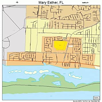 Mary Ester Florida Map.Amazon Com Large Street Road Map Of Mary Esther Florida Fl