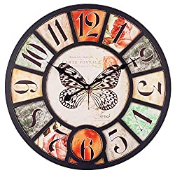 Large Wall Clock, 18 Inch European Vintage Clock with Arabic Numerals, Indoor Silent Battery Operated Wood Decorative Clock for Home, Living Room, Bedroom, Kitchen and Den - Butterfly