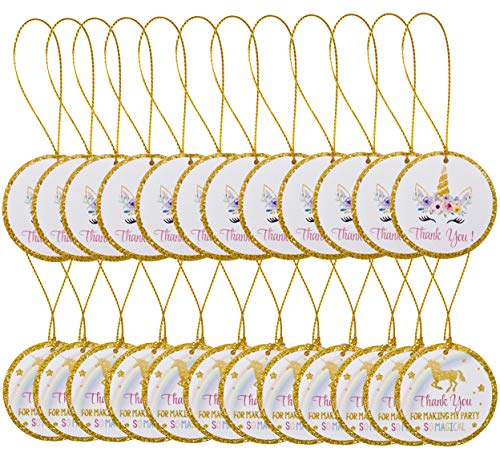 Famoby 24pcs Unicorn Thank You Tags with String Thank You for Making My Party Tags Unicorn Gift Tags for Baby Shower Birthday Wedding Unicorn Theme Party