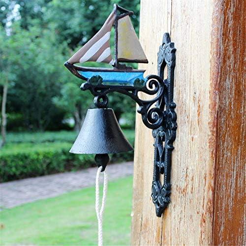 呼び鈴 ヴィンテージドアベルは鉄のセーリングハンドベルベルホーム壁画の庭の装飾をキャスト 屋内屋外のドアゲートパティオ芝生 (Color : Multi-colored, Size : Free size)