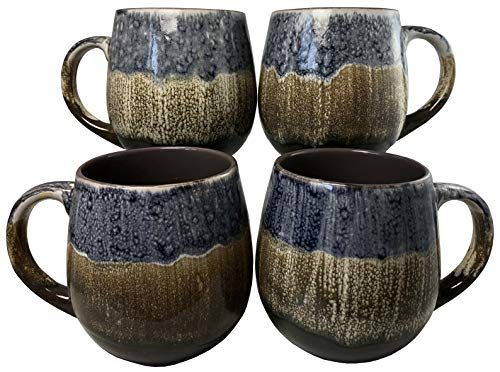 (Reactive Glaze Coffee Mugs | Set of 4 (Brown) | 20oz Ceramic Barrel Mugs | Microwave & Dishwasher Safe)