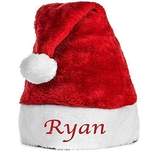 Personalized Santa Hat- Embroidered with any word in your choice of thread color- Secret Santa Gift