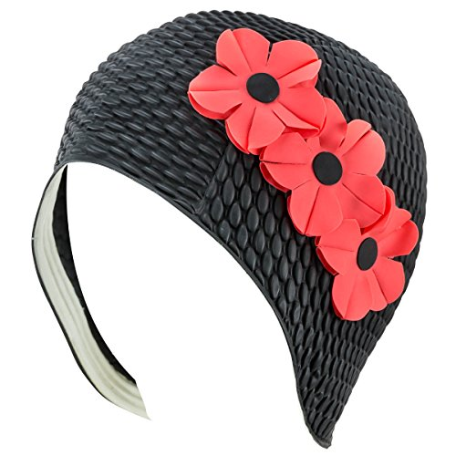 Latex Bubble Crepe Swim Bathing Cap with 3 Flowers - Black with Pink Flowers