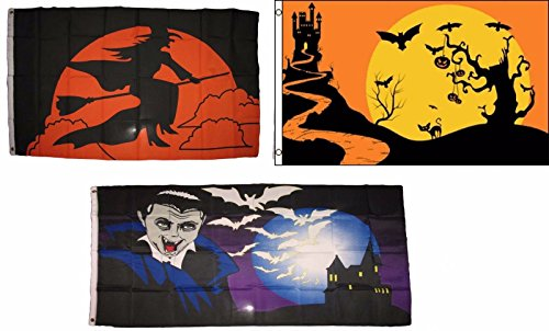 ALBATROS 3 ft x 5 ft Happy Halloween 3 Pack Flag Set #209 Combo Banner Grommets for Home and Parades, Official Party, All Weather Indoors -