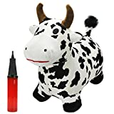 Hopping Horse Ride On Bouncy Animal Toys, Inflatable Horse Hopper Plush Covered With Pump For 2, 3, 4, 5 Year Old And UP(Cow) - iPlay, iLearn