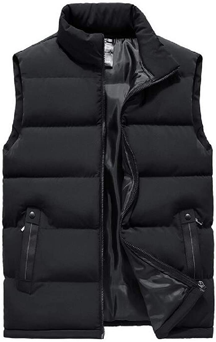 SHOWNO Men Plus Size Thicken Quilted-Vest Full-Zip Solid Color Stand Collar Down Puffer Waistcoat Jacket