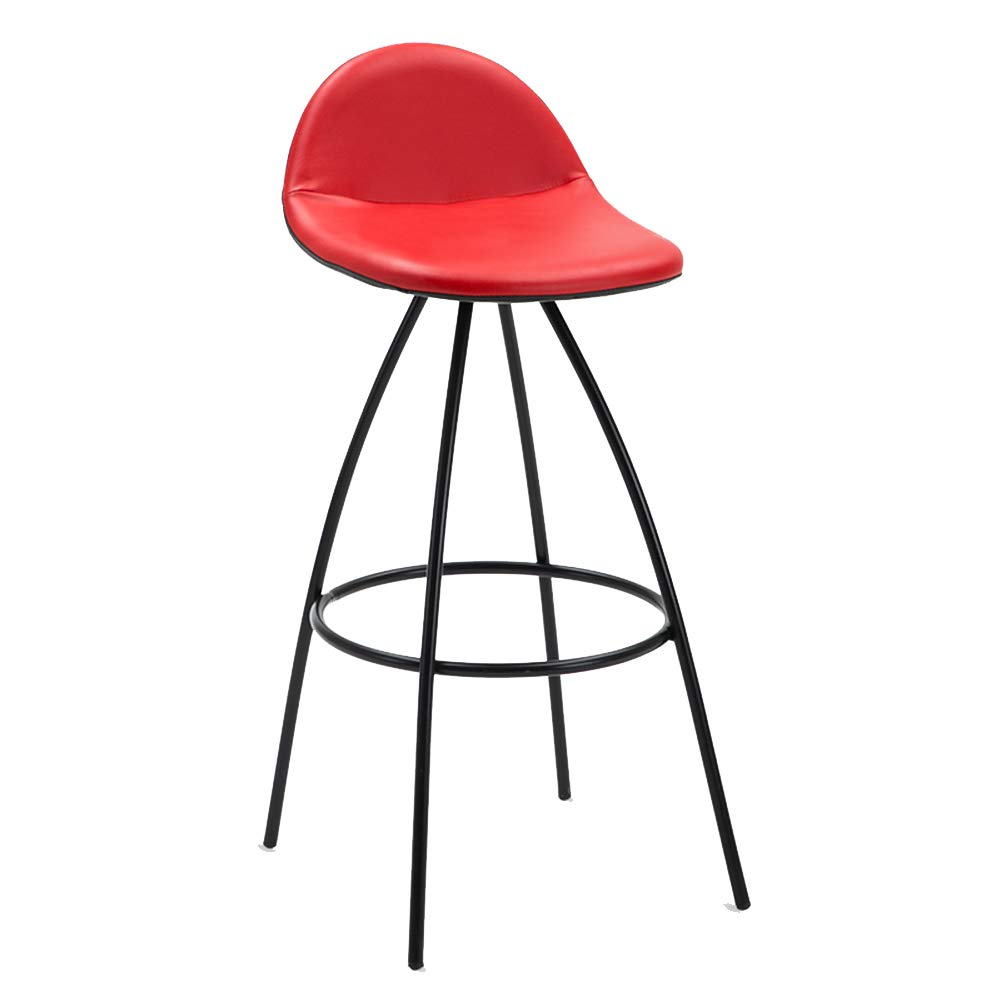 RED ZHAOYONGLI Stools Step Stools Work Stool Iron Art Bar Chair Leisure High Chair Creative Front Desk Bar Stool Creative Solid Durable Long Lasting (color   White White Frame)