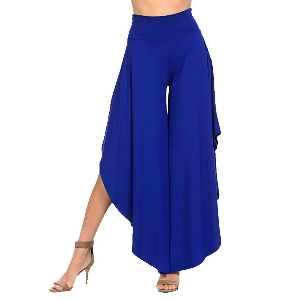 vermers Clearance Womens Wide Legs Pants Women's Layered Wide Leg Flowy Pants High Waist Irregular Comfy Trousers(XL, Blue)
