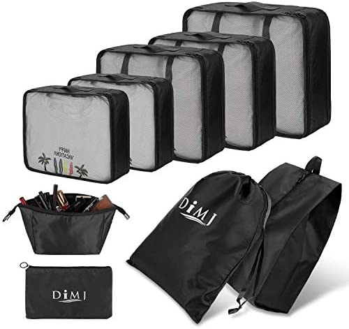 Packing Cubes 12pcs Travel Organizers Transparent Laundry Bag for Travel Journey Home Storage