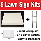 Box of 5 Quantity Blank Yard Signs 18x24 with H-stakes for Garage Sale Signs, For Rent, Open House,...
