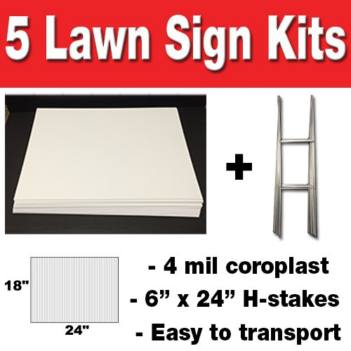Lawn Sign Holders (Box of 5 quanity Blank Yard Signs 18x24 with h-stakes for Garage Sales Signs, Graduations, or Political Lawn)