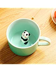 3D Coffee Mug Cute Animal Inside Cup Cartoon Ceramics Figurine Teacup Christmas Birthday Gift for Boys Girls Kids - Party Office Morning Mugs for Tea Juice Milk Chocolate Cappuccino(3D Panda Cup)