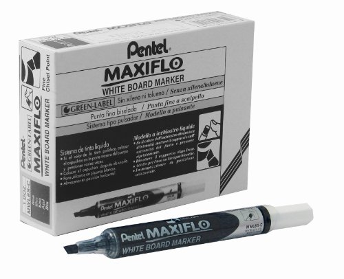 Pentel Maxiflo Dry Wipe Fine Chisel Point Marker - Black - Single pen (Pen Chisel Pentel Point)