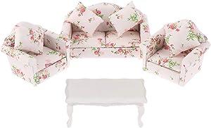 Haomian Dollhouse Furniture Set 3 Pcs 1:12 Dollhouse Miniature Wooden Sofa Cushions Armchair Pillow Kit Dolls House Furniture Couch with 1 Pc Dollhouse Teatable Coffee Table (A)