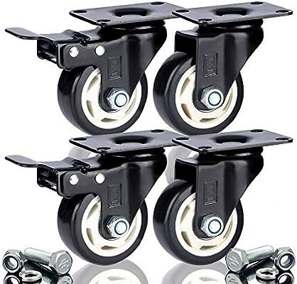 DSL - Rueda giratoria de doble rodamiento (poliuretano, 4 x 75 mm, 2 ruedas + 2 ruedas de goma freno, 400 kg)