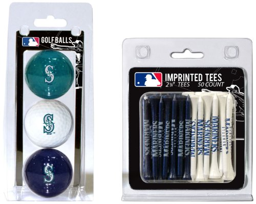 Team Golf MLB Seattle Mariners Logo Imprinted Golf Balls (3 Count) & 2-3/4 Regulation Golf Tees (50 Count), Multi Colored