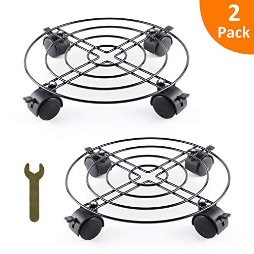 GROWNEER 2-Pack 11 Metal Plant Caddy Flower Pot Stand Trolley on Wheels, Movable Plant Pallet Rolling Tray Coaster w/ 8 Wheels & 1 Small Spanner, for Indoor Outdoor Home Garden
