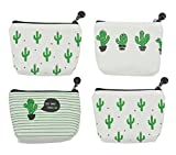 iSuperb Pack of 4 Canvas Coin Purse Change Cash Bag Cute Cactus Pattern Oxford Liner Small Purse Wallets with Zipper 4.7x1.3x3.3 inch
