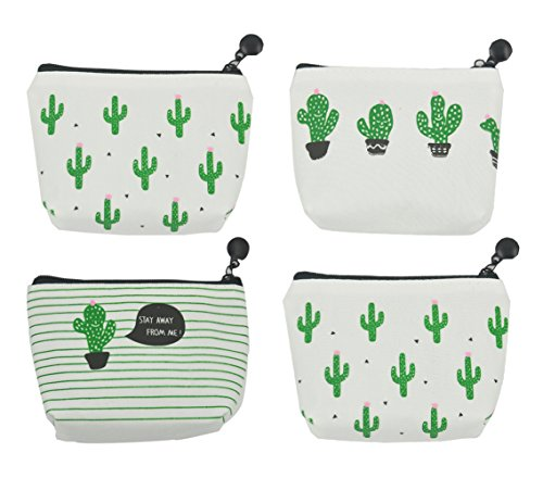 iSuperb Pack of 4 Canvas Coin Purse Change Cash Bag Cute Cactus Pattern Oxford Liner Small Purse Wallets with Zipper 4.7x1.3x3.3 inch (Make Change Purse)