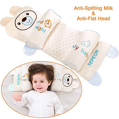 Baby Head Shaping Pillow, Maveek Anti-Flat Head & Anti-Rollover Adjustable Toddler Side Sleeping Pillow, Breathable Cotton Cartoon Bear Design Sleep Positioner