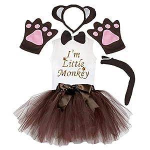 Petitebella Headband Bowtie Tail Gloves Shirt Skirt 6pc Girl Costume (Brown Monkey, 3-4 Yr)