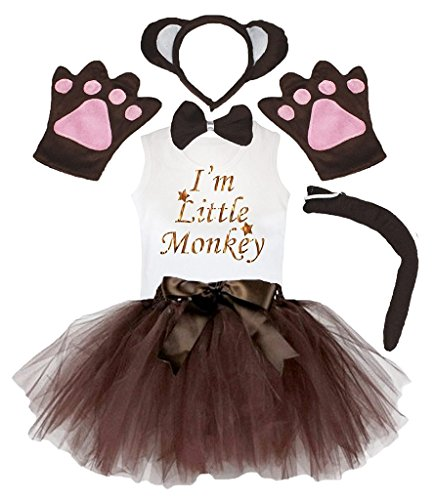 Petitebella Headband Bowtie Tail Gloves Shirt Skirt 6pc Girl Costume (Brown Monkey, 5-6 Yr) ()