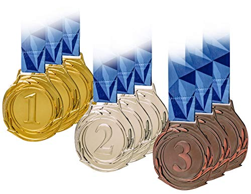 Award Medals, Olympic Style, Gold Silver Bronze (Bulk Set of 9), Premium Metal and Ribbon, Prize for Events, Classrooms, or Office Games, 1st 2nd 3rd Place ()