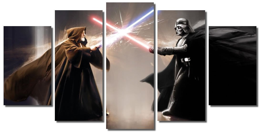 Picture Sensations Framed Canvas Art Print, Star Wars Darth Vader Obi-Wan Kenobi Lightsaber Wall Canvas Art - 60''x32''