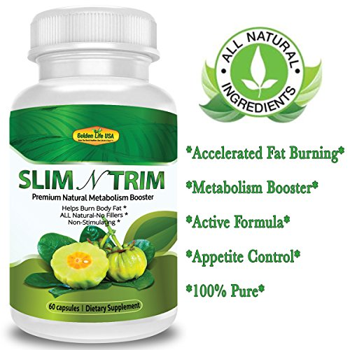 Slim N Trim Weight Loss & Appetite Suppressant: Belly Fat Burner & Diet Supplement Pill with Garcinia Cambogia, Raspberry Ketones & Green Tea Extract - Boost Energy & Concentration - 60 Capsules.
