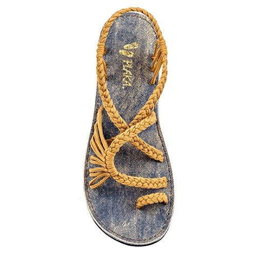 (Plaka Flat Summer Sandals for Women Sand Yellow 8 Palm Leaf)