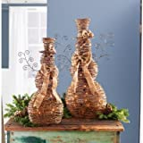 Lighted Jute & Rattan Snowman Set with Bows & Hats (set of 2)