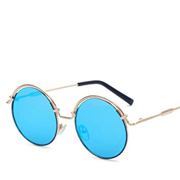 Wmshpeds Runden rahmen Metall Sonnenbrille, hochwertige Farbe film Sonnenbrille, retro Sonnenbrille