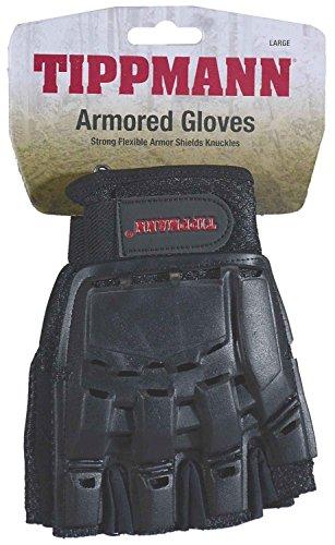 Tippmann Armored Gloves Fingerless/Half Finger Gloves Fit for Paintball & Air Soft, Black, - Tippmann Gear