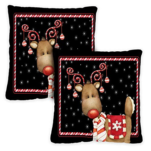 Toland Home Garden Decorative Candy Cane Reindeer Winter Holiday Christmas Xmas 18 x 18 Inch Pillow Case (2-Pack) from Toland Home Garden