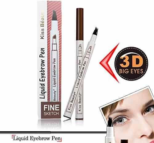 Kiss Beauty  Eyebrow Pen ,Eyebrow Long Lasting Tint Dye Cream,Waterproof,Smudge-Proof(02 Brown)