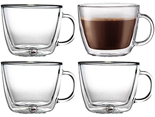 Bodum Bistro Double-Wall Insulated Glass Café Latte Mug (Set of 4 Mugs)