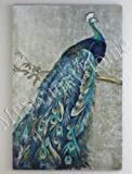 "Extra Large 72"" Proud PEACOCK Hand Painted Oil Painting Oversize"
