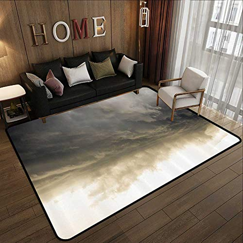 Low-Profile Mats,Apartment Decor,Heavy Storm Clouds in Dark Sky Hurricane Weather Cloudscape Mass of Liquid Droplets Image,Grey 47