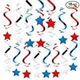 Star Swirl Hanging Decoration for 4th of July Pariotic Party Favors (red,blue,silver, pack of 18)