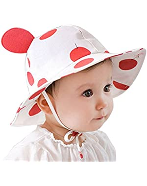 Baby Sun Protection Hat Adjustable Cotton Floral Summer Bucket Beach Baseball Cap for 0-3T