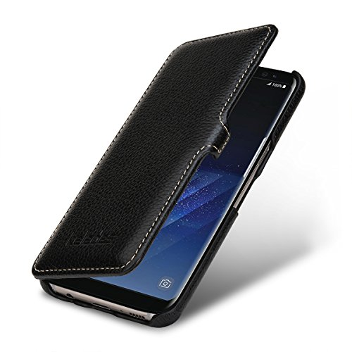 Funda Piel Samsung Galaxy S8,Funda cuero Samsung Galaxy S8,Keledes Carcasa Samsung Galaxy S8 Funda Libro cuero genuino Flip case Cover Funda Protección para Samsung Galaxy S8 Funda Piel Cuero,Negro Negro - con Clip
