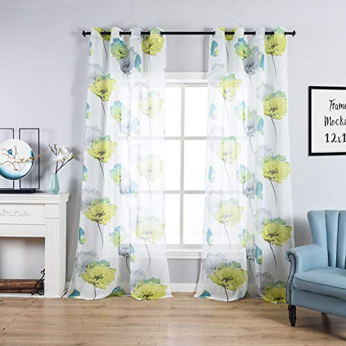 Taisier Home Floral Voile Tulle Window Curtain,Butterflies&Flowers Sheer Window Voile Panel Drapeies Curtain,Watercolor Window Treatment for Living Room,Grommet Print Sheer(2 Panels Set,54