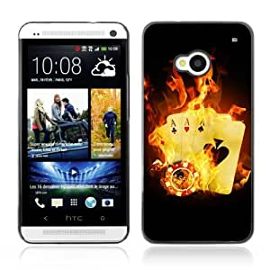 Designer Depo Hard Protection Case for HTC One M7 / Burning Aces Cards Cool Photo